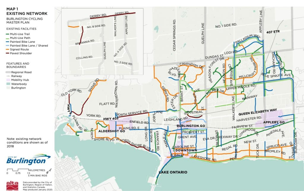 Existing cycling network in Burlington, ON.